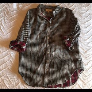 Black, white, red Gingham button down size Small